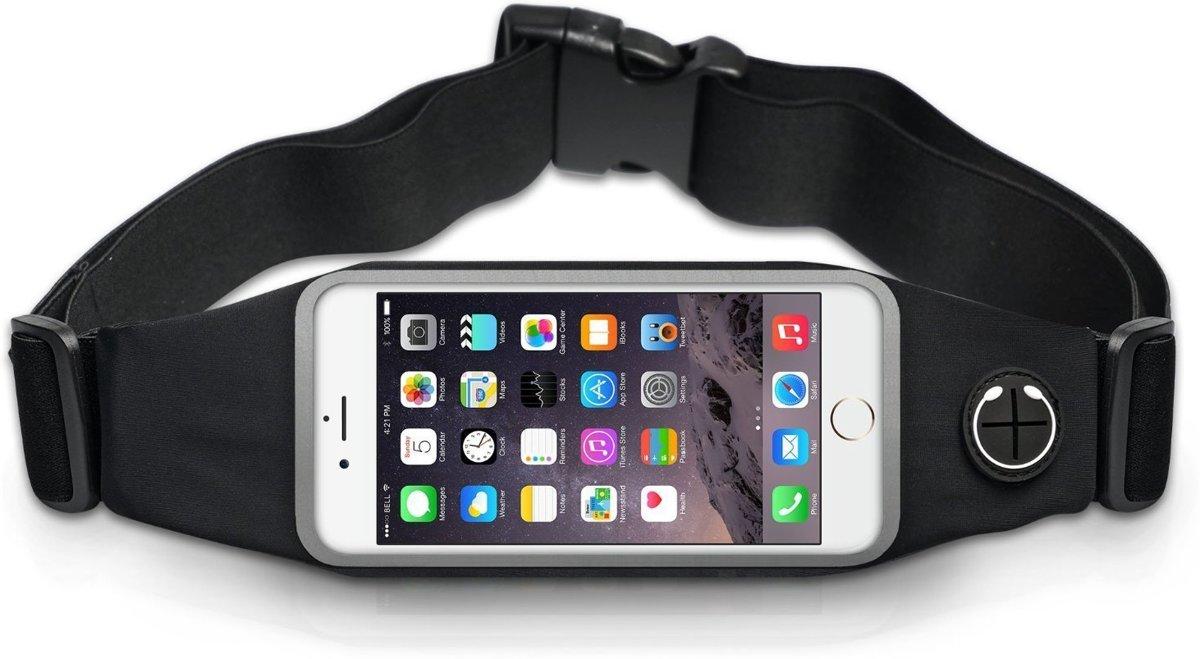 Qumaxx Running belt - Fitness heuptas – Hardlooptas zwart – Hardloopgordel - hardloopriem - Heupband telefoon – Heuptasje smartphone – Ideale hardloop accessoire - Hardlopen met telefoontas