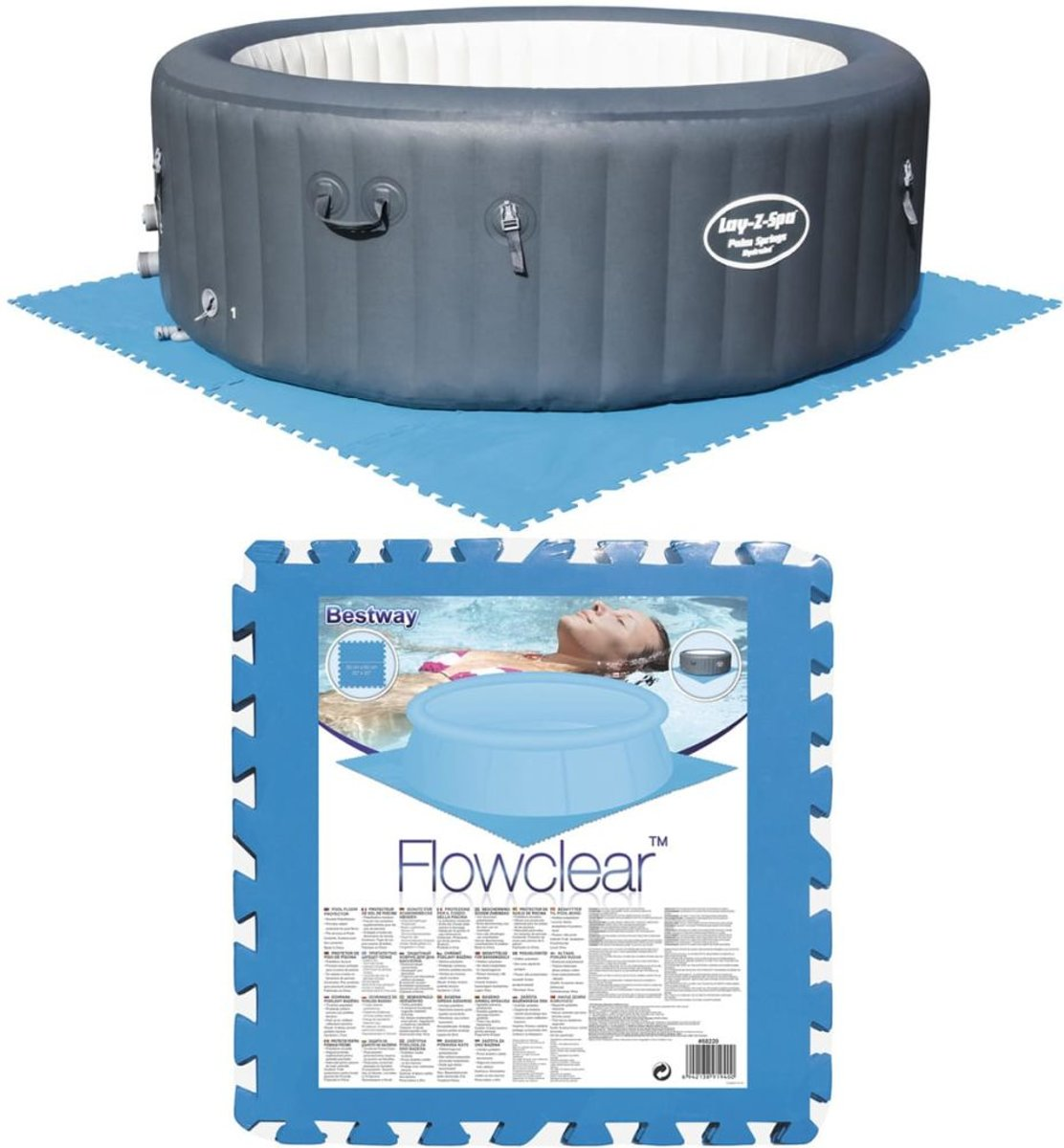 Bestway Zwembadbodem beschermers blauw 8 st 58220