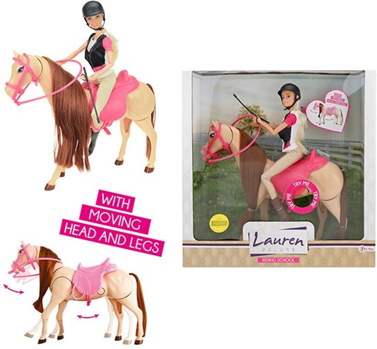 LAUREN Tienerpop barbie  op bewegend paard