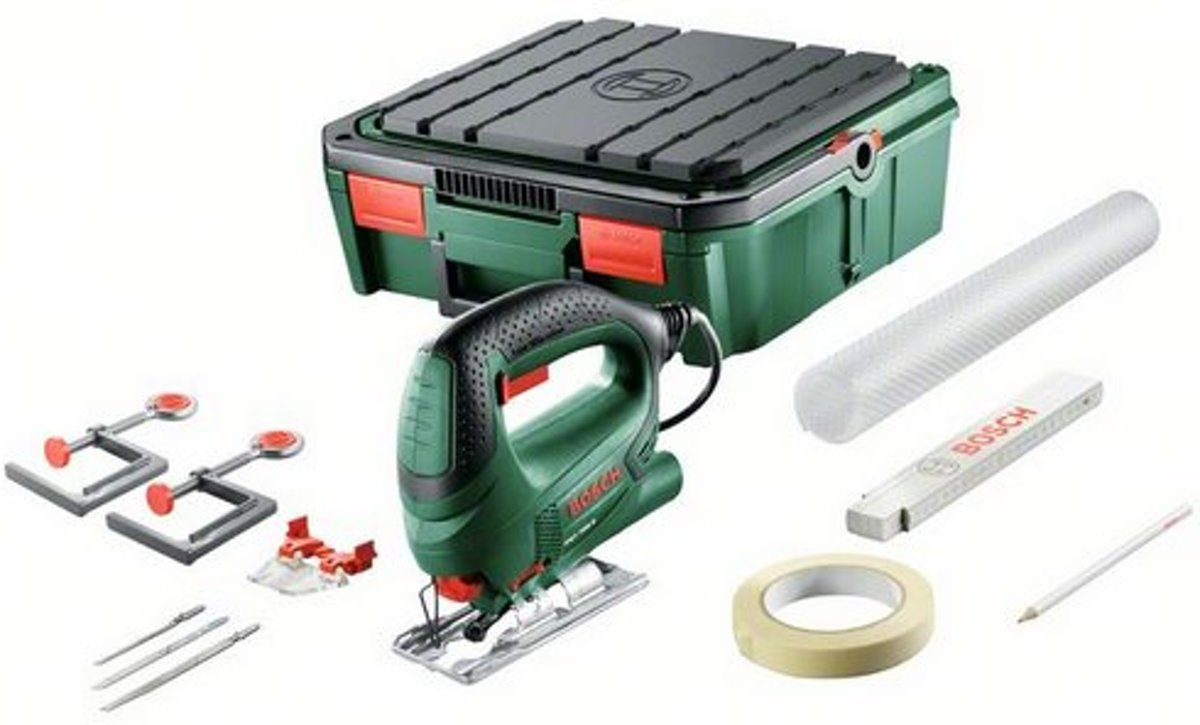 Bosch PST 700 decoupeerzaag - 500 Watt - incl. kunststof koffer -  3 gratis zaagbladen en werktafel