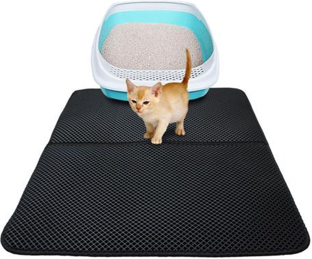 Dubbellaags Kattenbak Mat met Opvangzak voor Kattengrint - 50x40 cm kopen