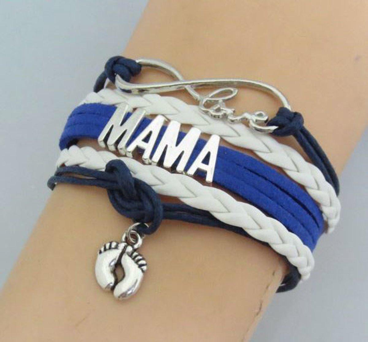 Stoere wikkelarmband mama blue - mama armband - moederdagcadeau - geschenk moederdag - kraamcadeau sieraad kopen