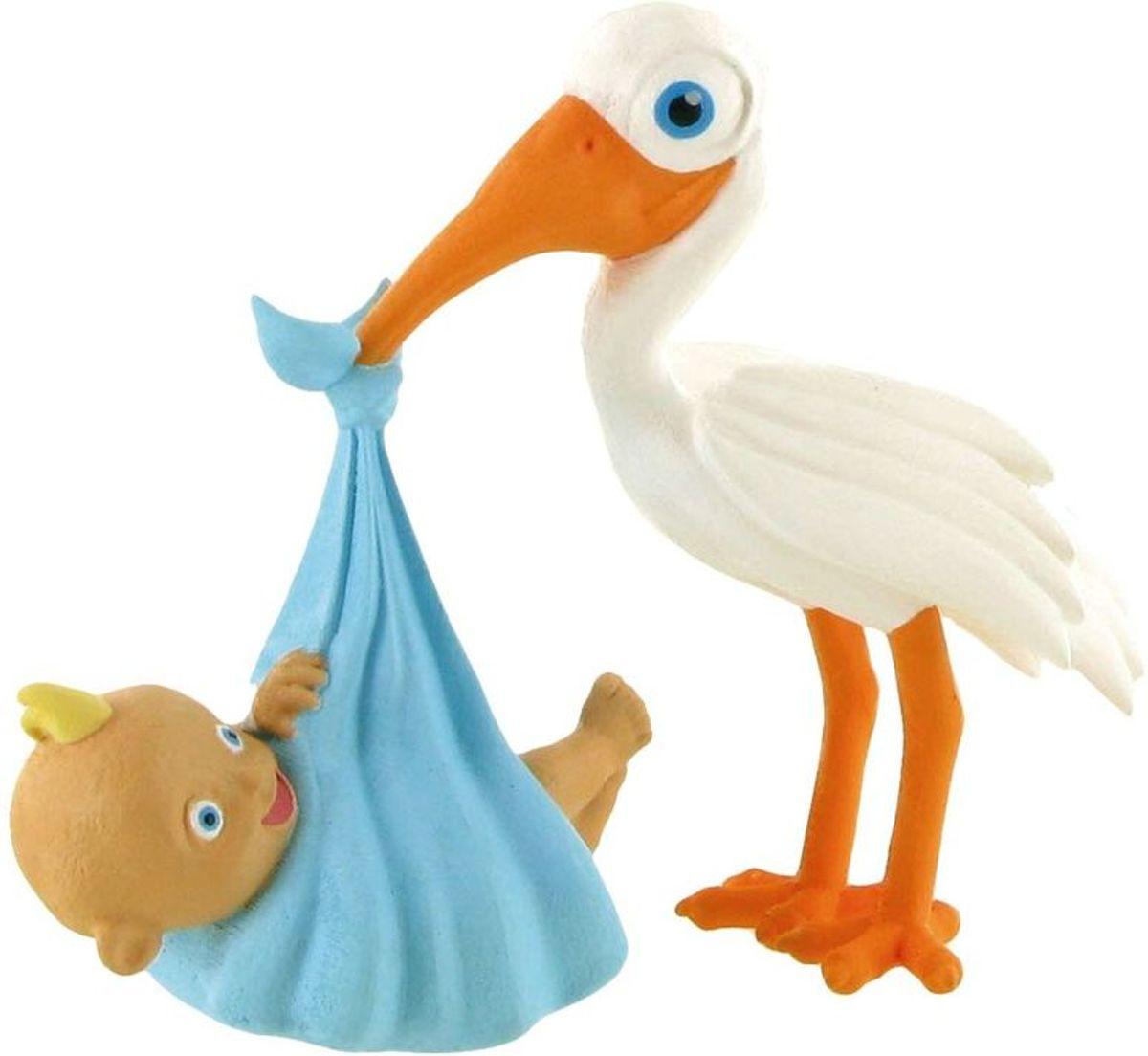 Figuurtje Ooievaar brengt baby boy - 8 x 9 cm