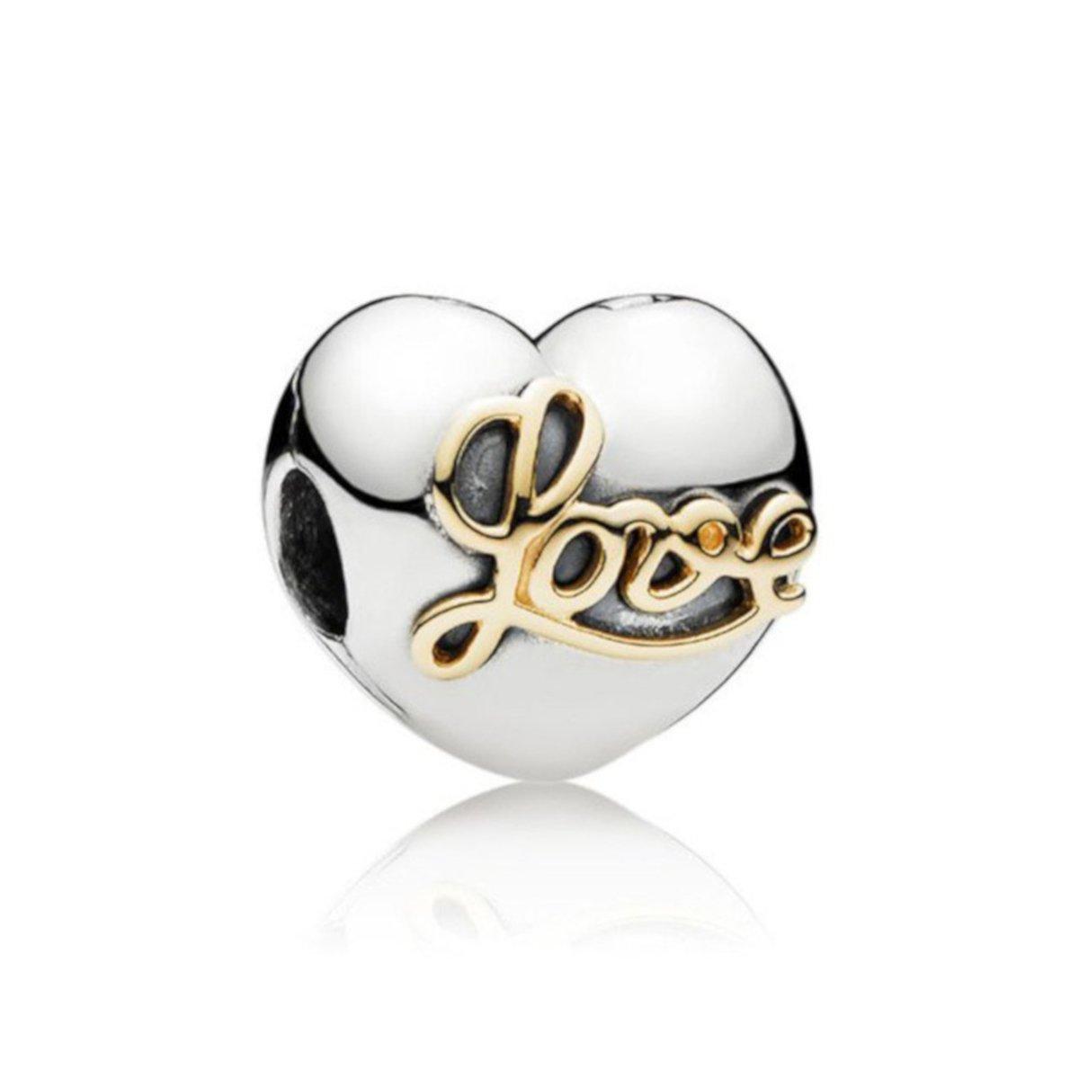 Zilveren clip hart met LOVE kopen