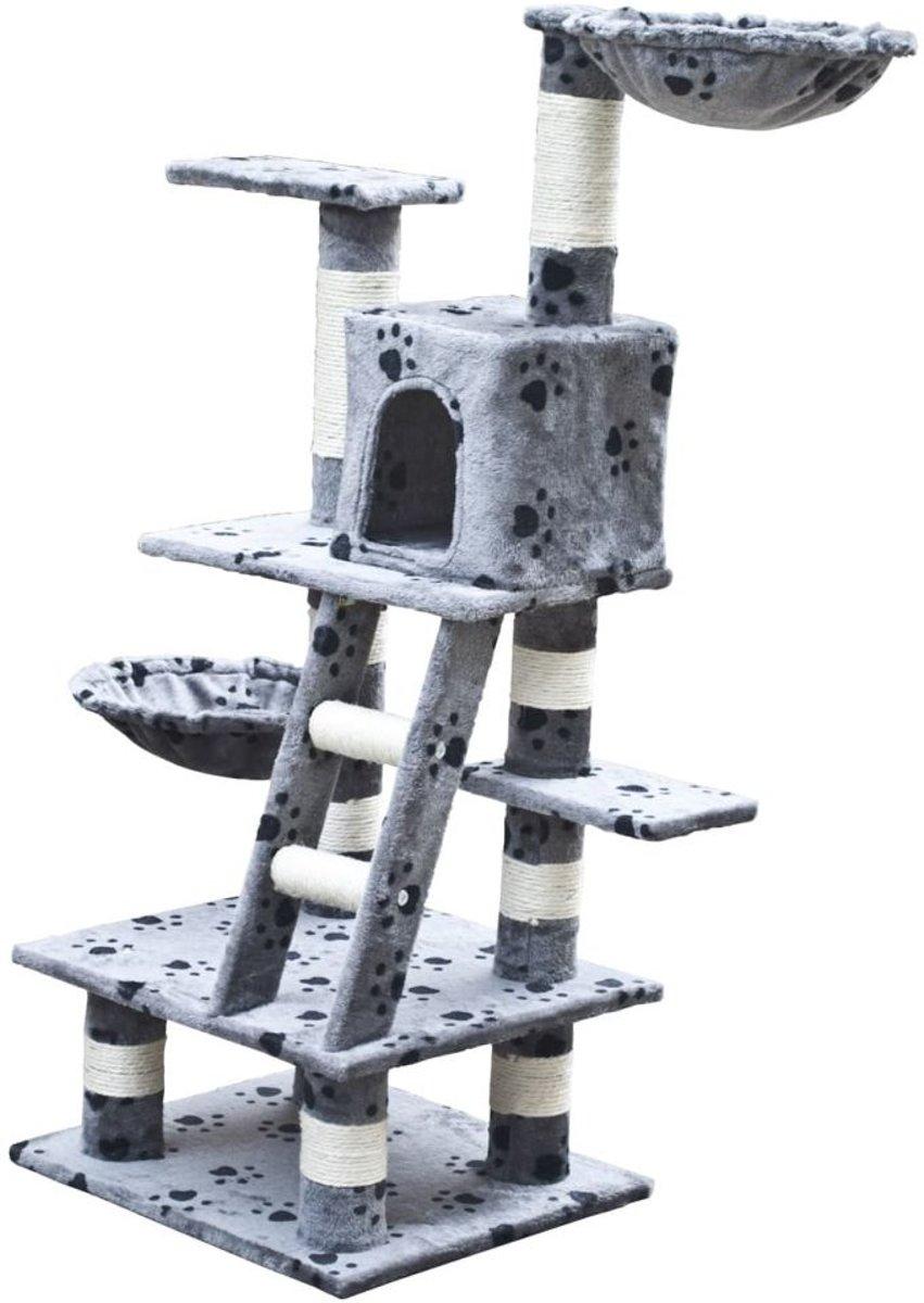 Krabpaal Jerry 122 cm (grijs) met pootafdrukken