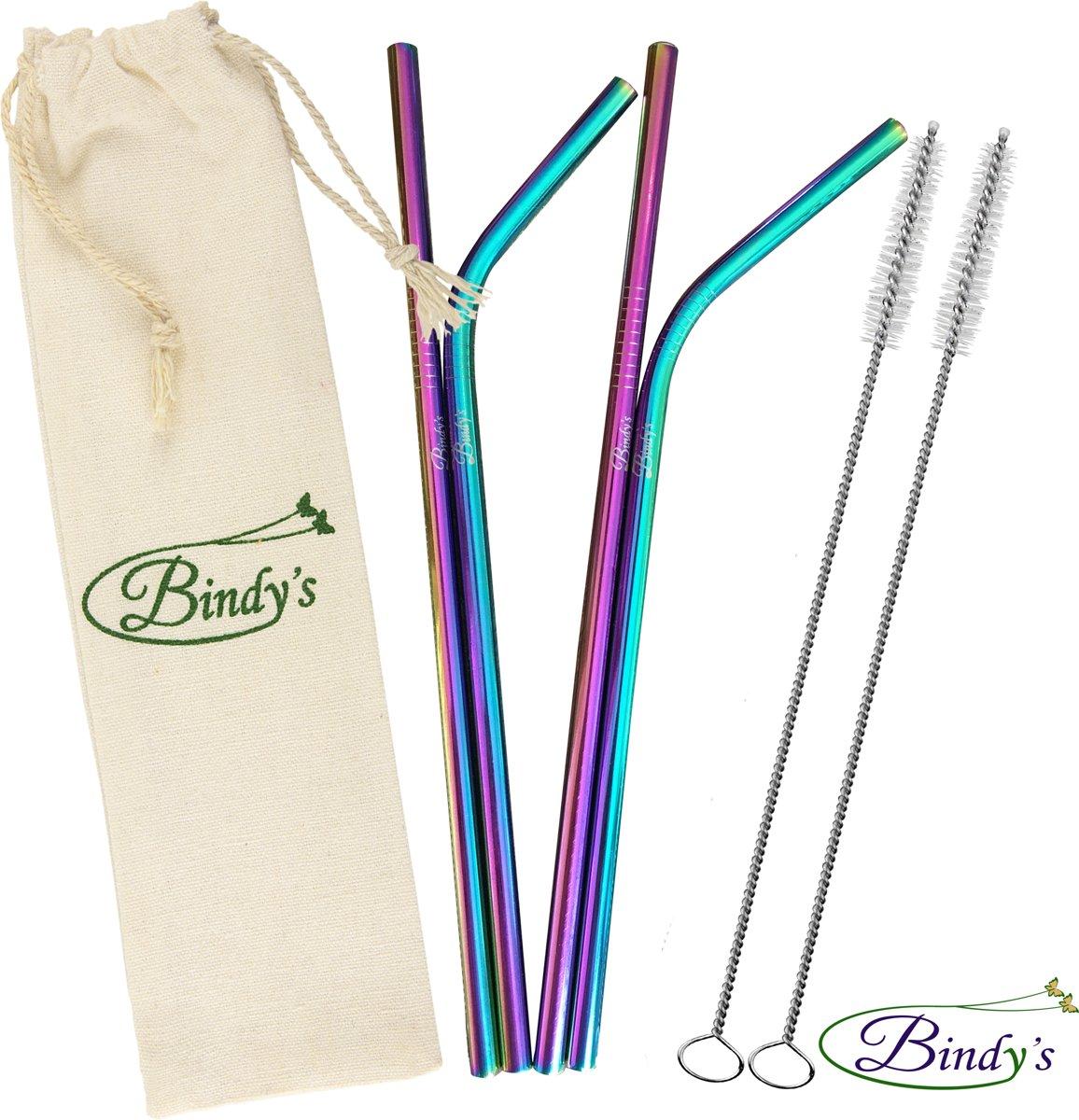 Bindy's Gekleurde rvs/metalen rietjes - Herbruikbare set van 4 gekleurde RVS rietjes(2 stuks recht en 2 stuks gebogen), lengte 21,5 cm-Stijlvol, Functioneel en Duurzaam, Incl. 2 Schoonmaakborsteltjes en linnen bewaarzakje