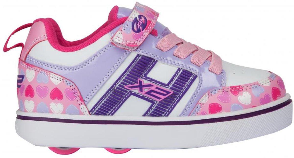 Chaussures À Roulettes Heelys Up Double Coeurs - Chaussures De Sport - Enfants - Taille 34 - Filles - Rose RLs9bG