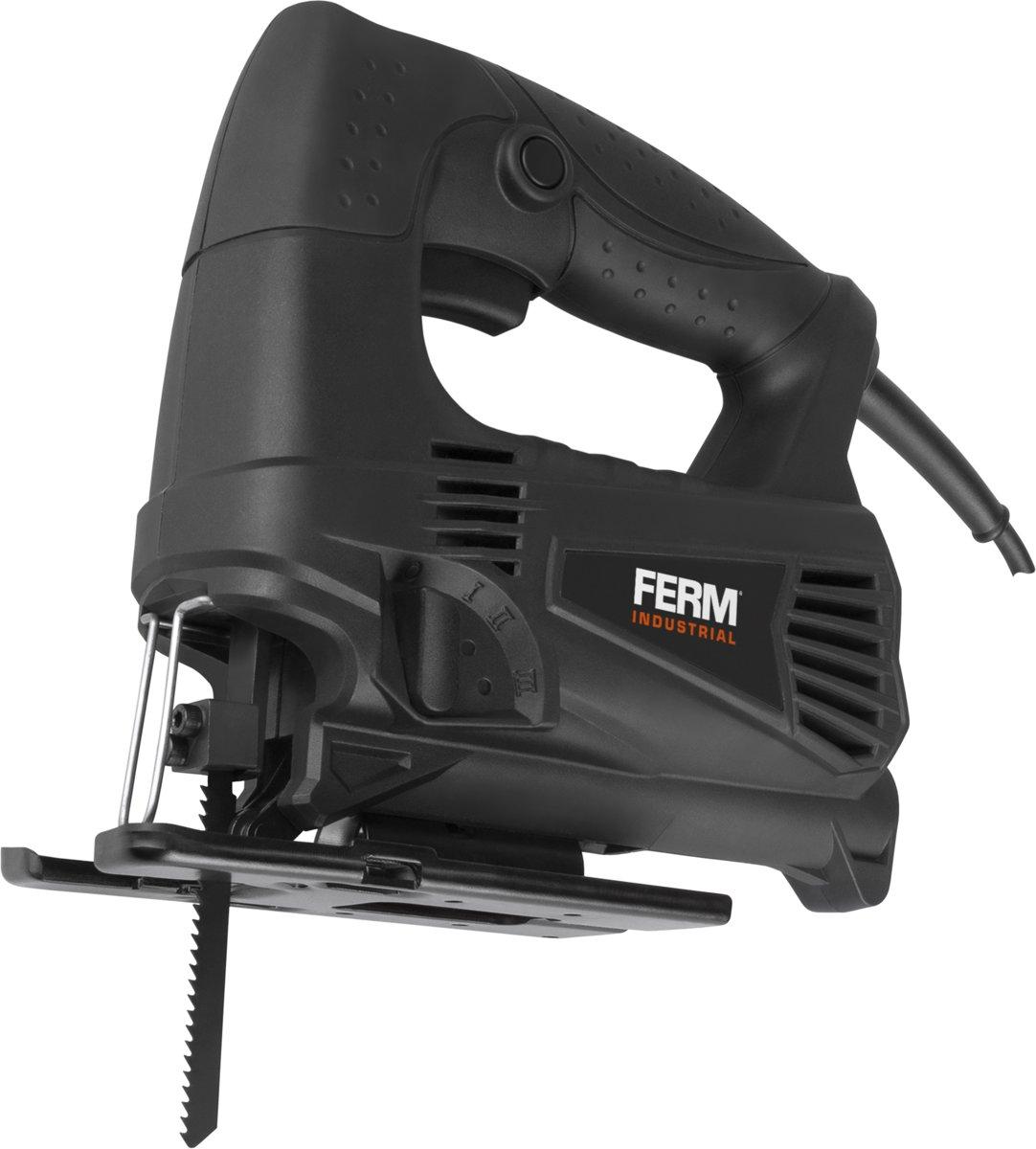 FERM JSM1028P Decoupeerzaag – 450W - Professioneel – 4 pendelposities – Incl. 2 zaagbladen en opbergkoffer
