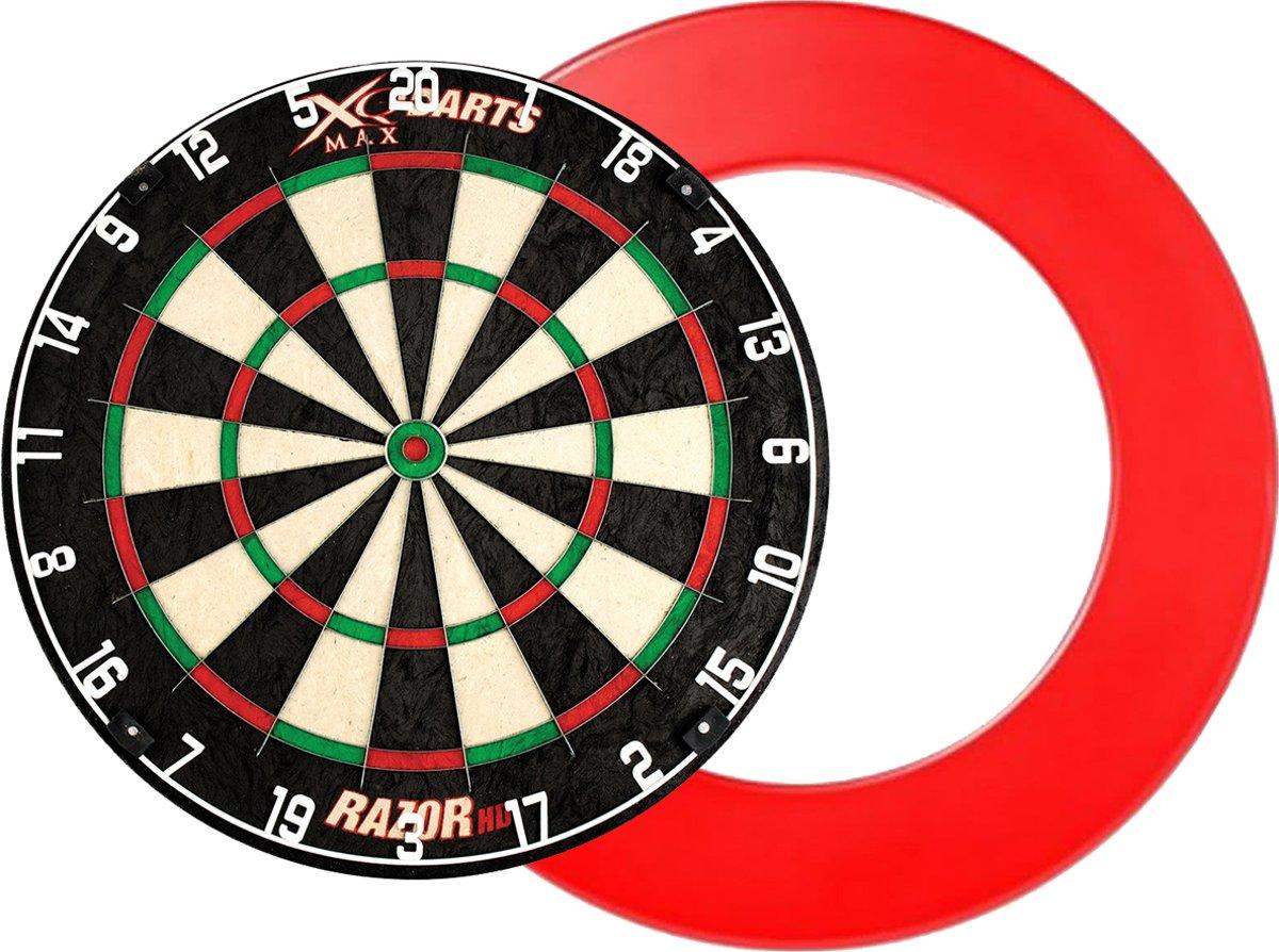 XQ Max - Razor HD Bristle - dartbord - inclusief - dartbord surround ring - Rood