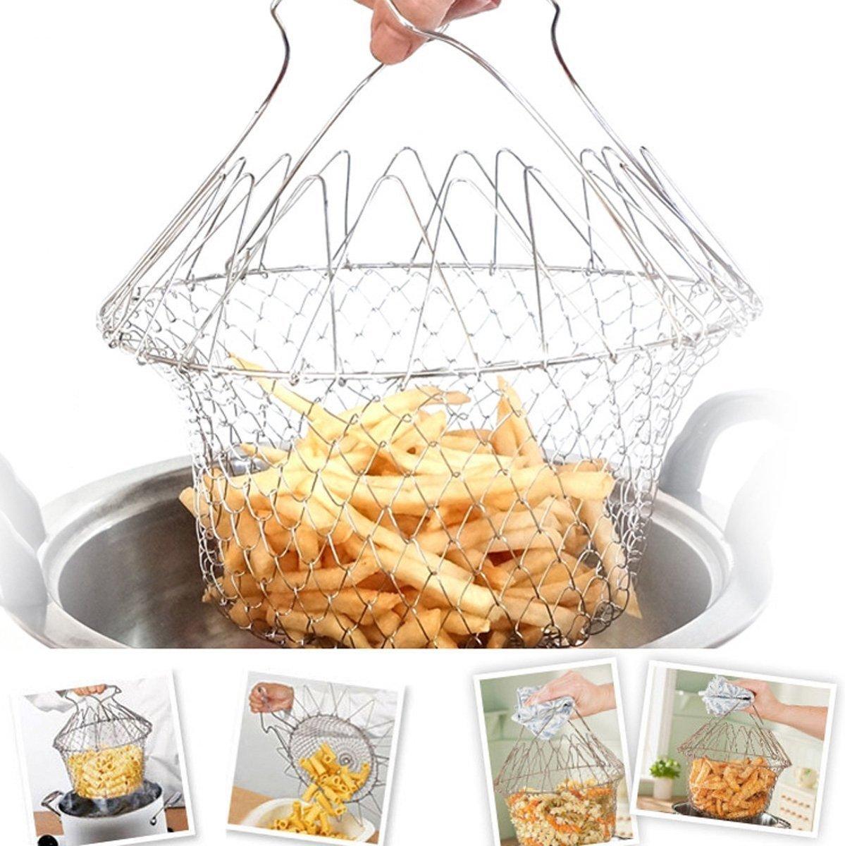 Magic Chef Basket Stoom Mandje  | 12 in 1 keuken accessoire | Opvouwbaar Kook Mandje RVS | Stoommandje Groente Stomer kopen