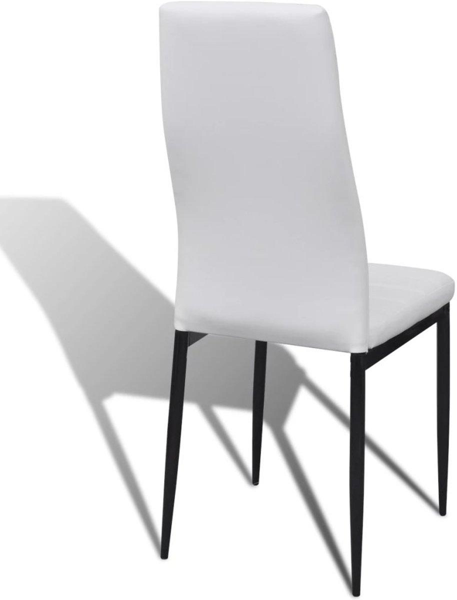 Eettafel Met 6 Witte Stoelen.Bol Com Eetkamerset 6 Witte Slim Line Stoelen En 1 Glazen Tafel