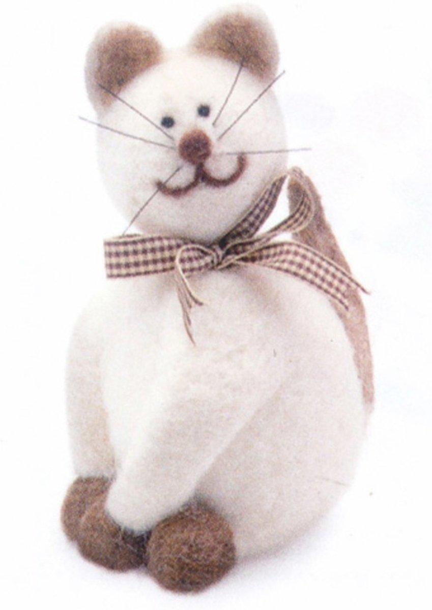 Maak je eigen kat van vilt hobby set pakket kopen