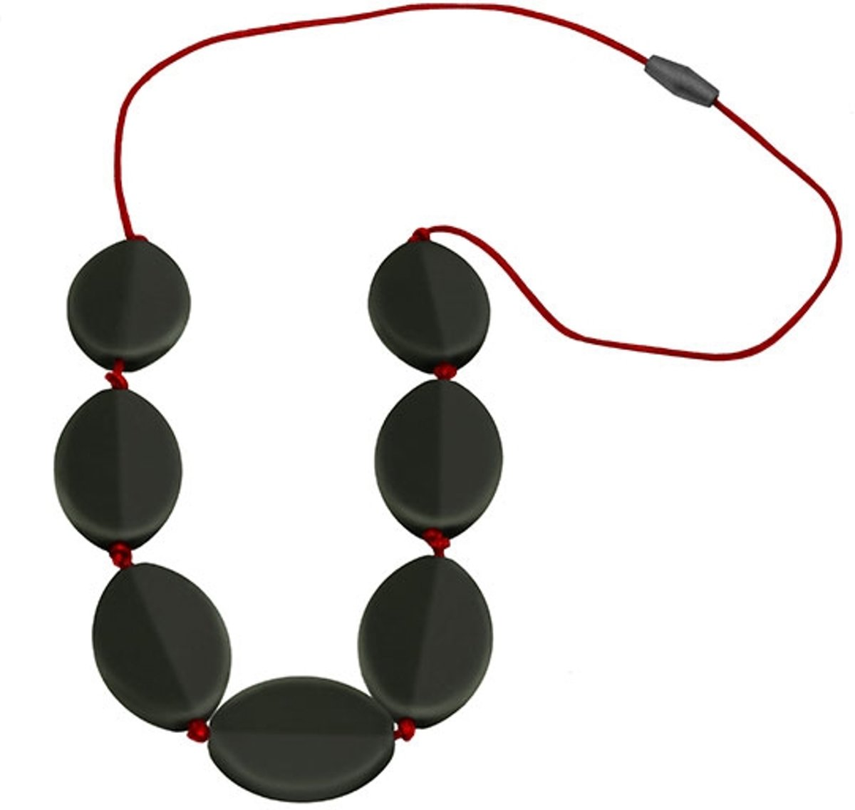 Jellystone Designs Caru Necklace - Kauwketting - Smokey Black with Scarlet Red cord kopen