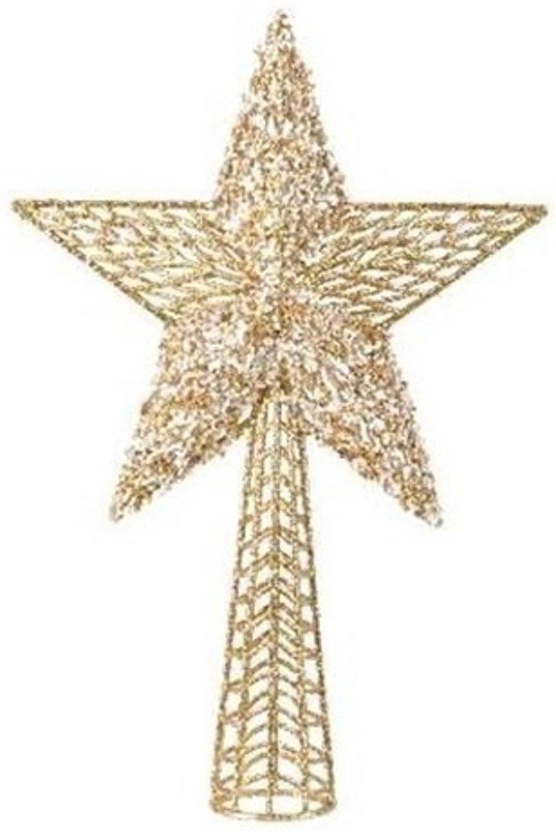 Gouden sterren piek plastic 36.5 cm - Gouden kerstboom versieringen kopen