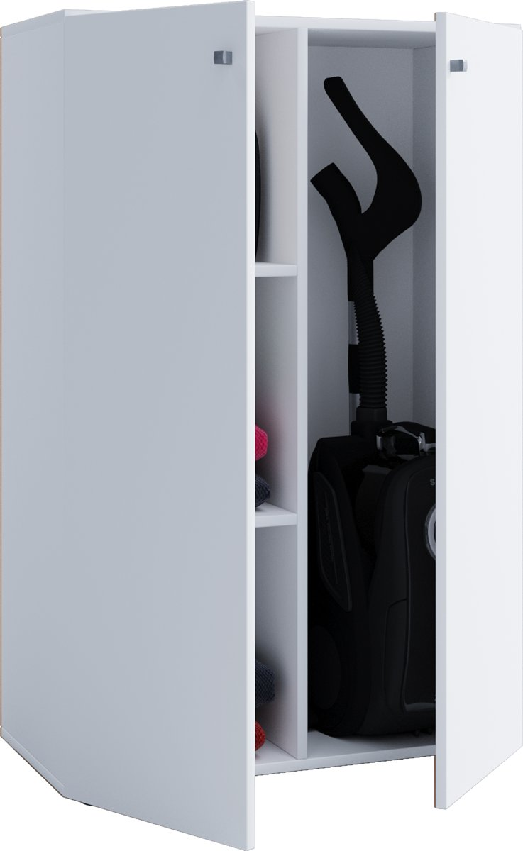 Kinderkledingkast opbergkast Vandol Lonal Mini II 110 cm hoog 3 opbergvakken + 1 grote opbergruimte wit