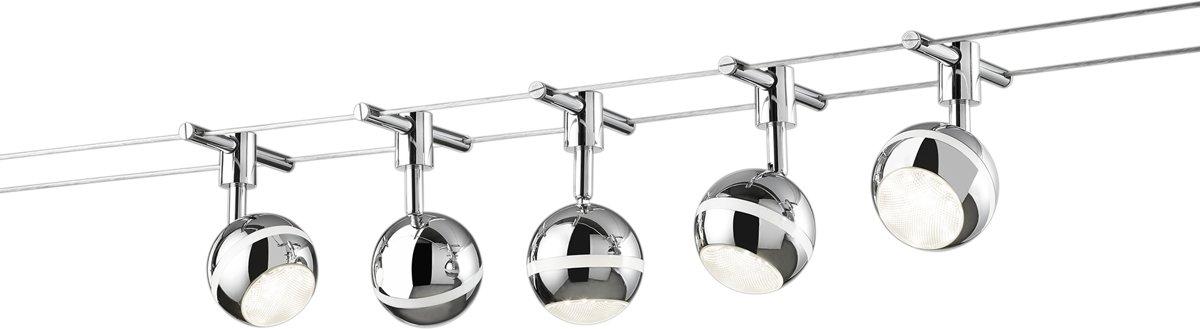TRIO, Spot, Baloubet incl. 5 x LED,SMD,3,8 Watt,3100K,350 Lm. Kunststof, Chroom, Armatuur: Metaal, Chroom L:500,0cm, L:11,0cm, H:15,7cm Wand- en plafondmontage kopen