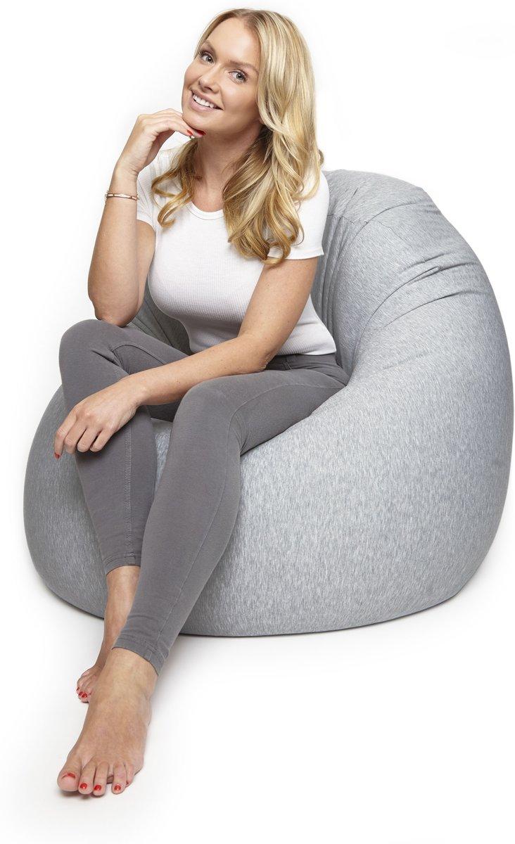 Lumaland - Zitzak Flexi Comfort - Beanbag - Verschillende maten - 142 x 84 cm - MEDIUM - Lichtgrijs kopen