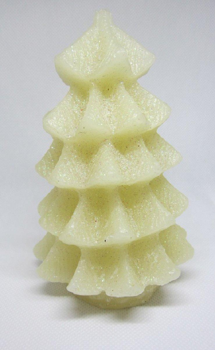 Kerstboom in kaarsmodel met led verlichting, werkt op batterij (meegeleverd) 14 x 10 cm Ø kleur off-white kopen