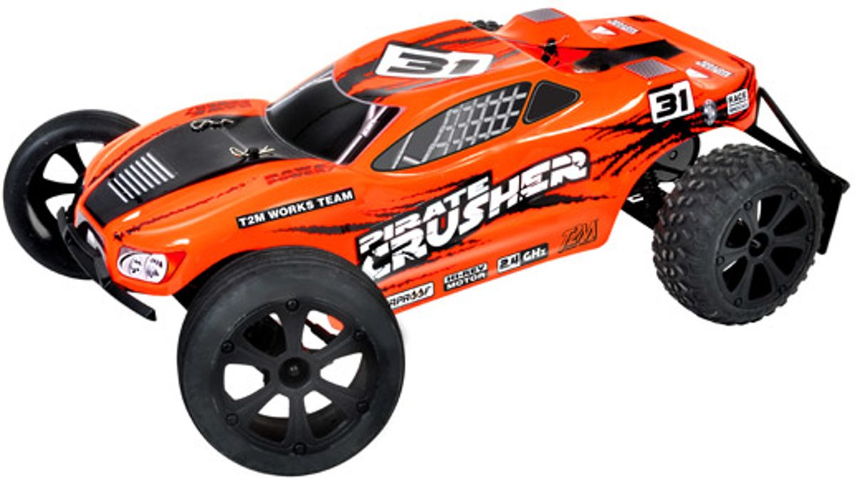 T2M Pirate Crusher 1:10 Brushed RC auto Elektro Truggy Achterwielaandrijving RTR 2,4 GHz