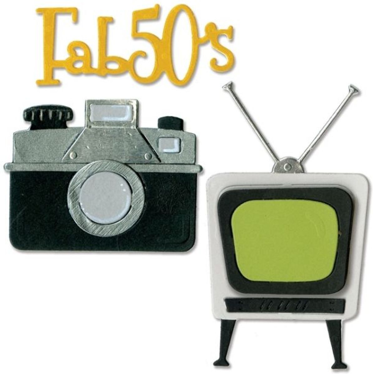 Sizzix Thinlits 11 Pcs, Retro TV, Camera & Fab 50s by Jen Long kopen