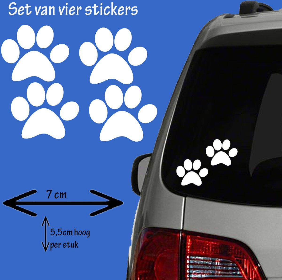 Hondenpootje / hondenpootjes 4 stickers wit kopen