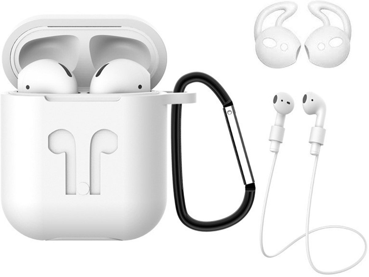Hoes voor Apple AirPods 2 Hoesje Case 3-in-1 Siliconen Cover - Wit