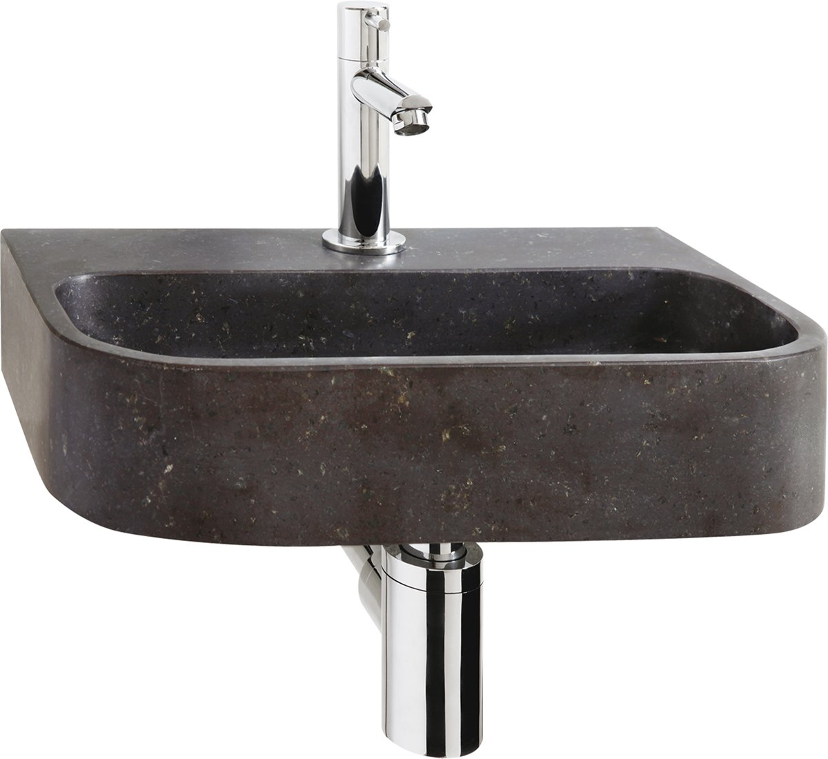 Fonteinset Differnz Ovale Ovaal 38x24x7cm Natuursteen Chroom Toiletkraan Sifon Plug kopen