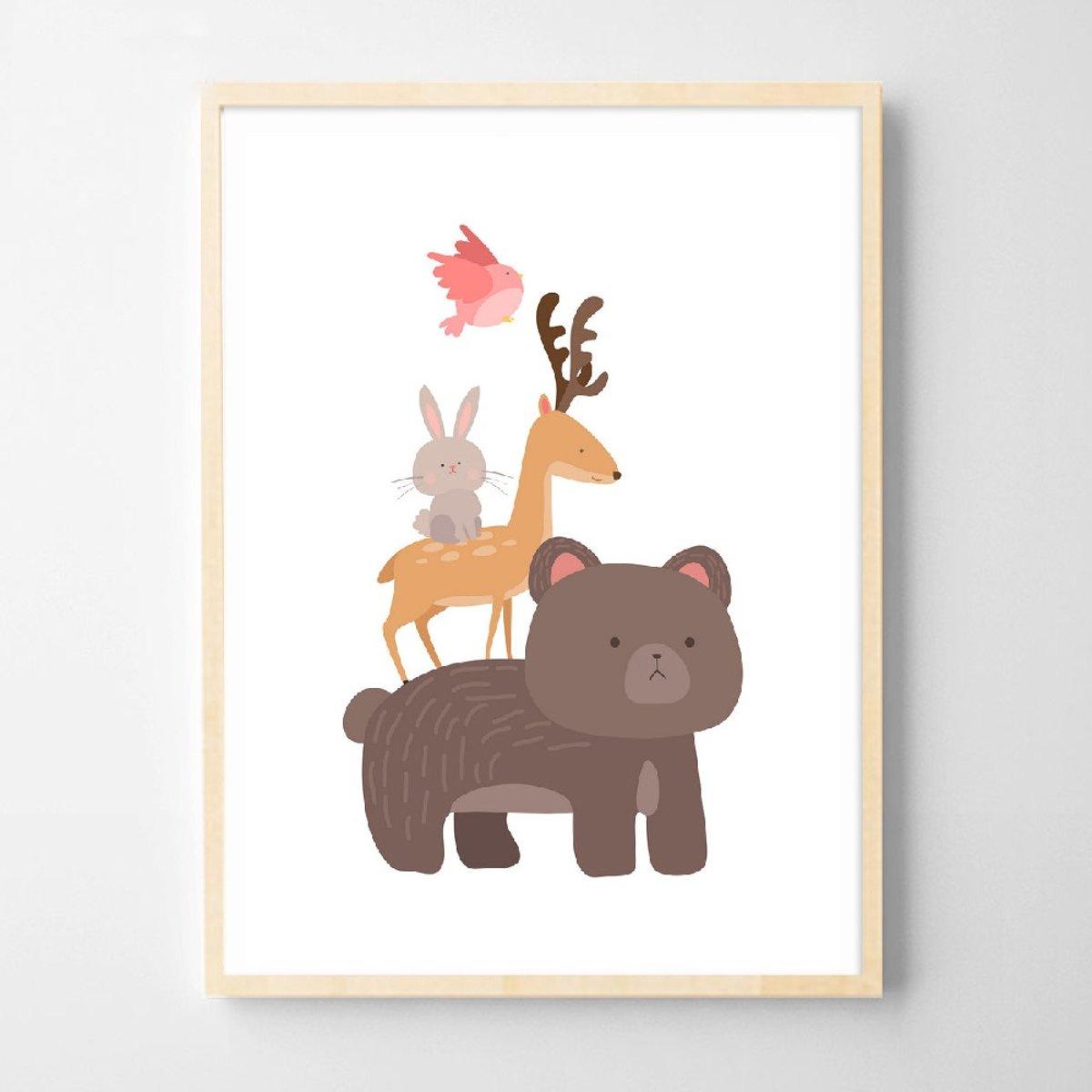 Postercity - Design Canvas Poster Beer met Dieren Vriendjes / Kinderkamer / Muurdecoratie / 40 x 30cm / A3 kopen