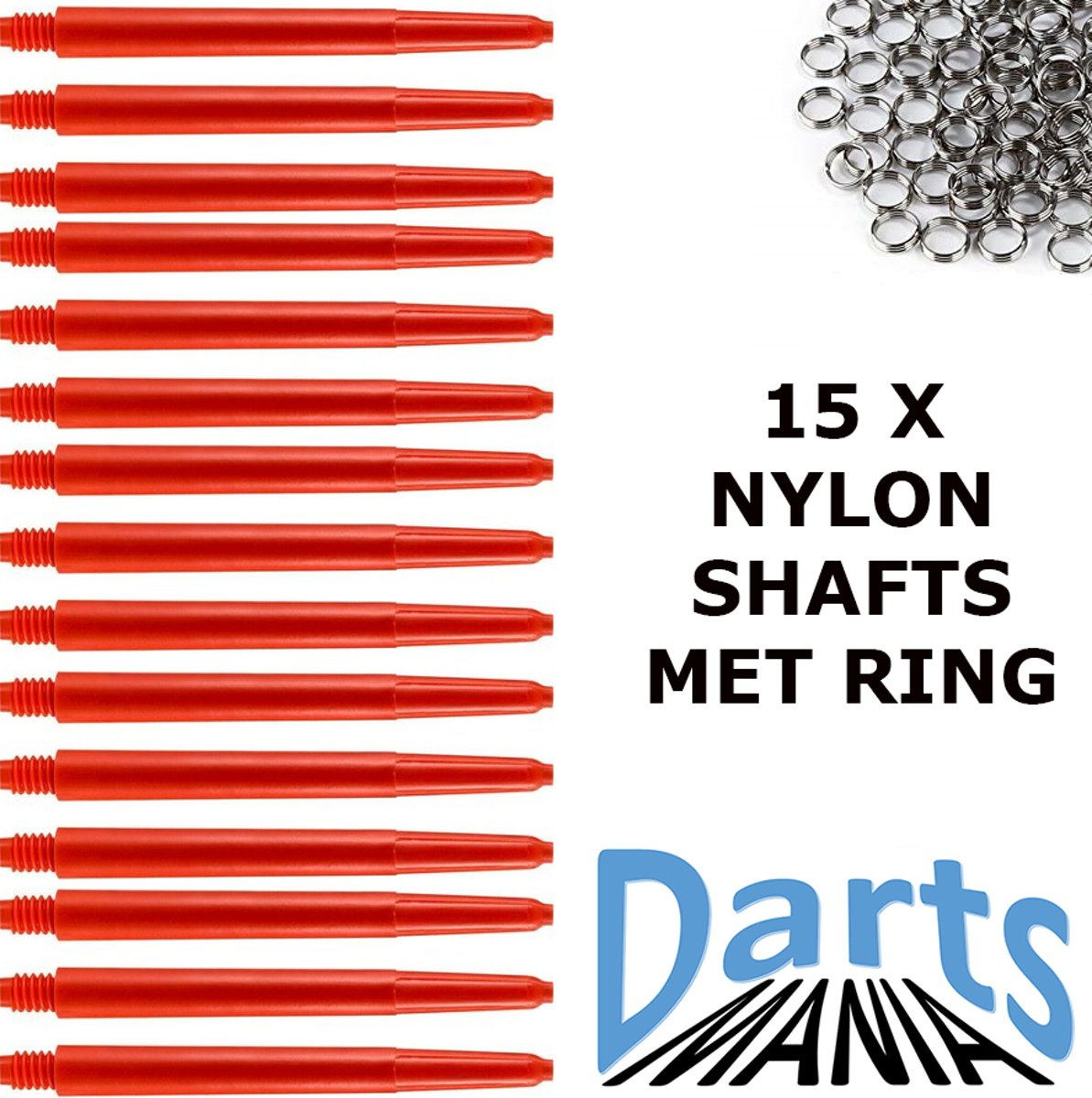 Darts-Mania Rood Medium (48 mm.) incl. veerringetjes 5 sets - Dart - Shafts kopen