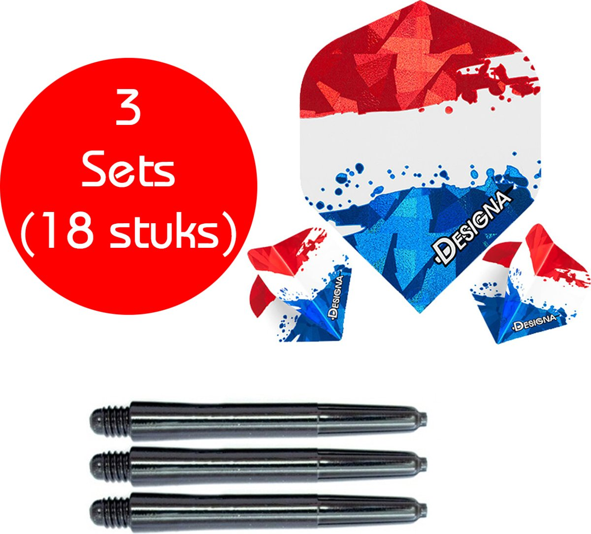 Dragon darts - 3 sets (18 stuks) - Nederlandse vlag - dart flights - inclusief zwarte - dart shafts kopen