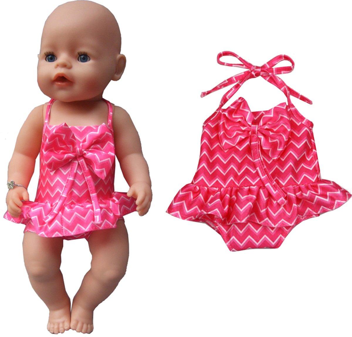 Roze badpak met strik voor poppen van 40-45 cm