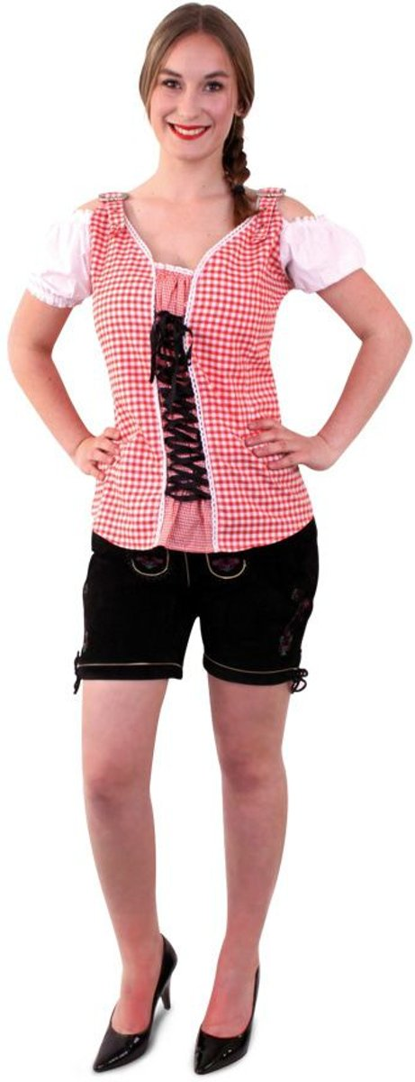 Tiroler Checkered blouse deluxe, roodwit