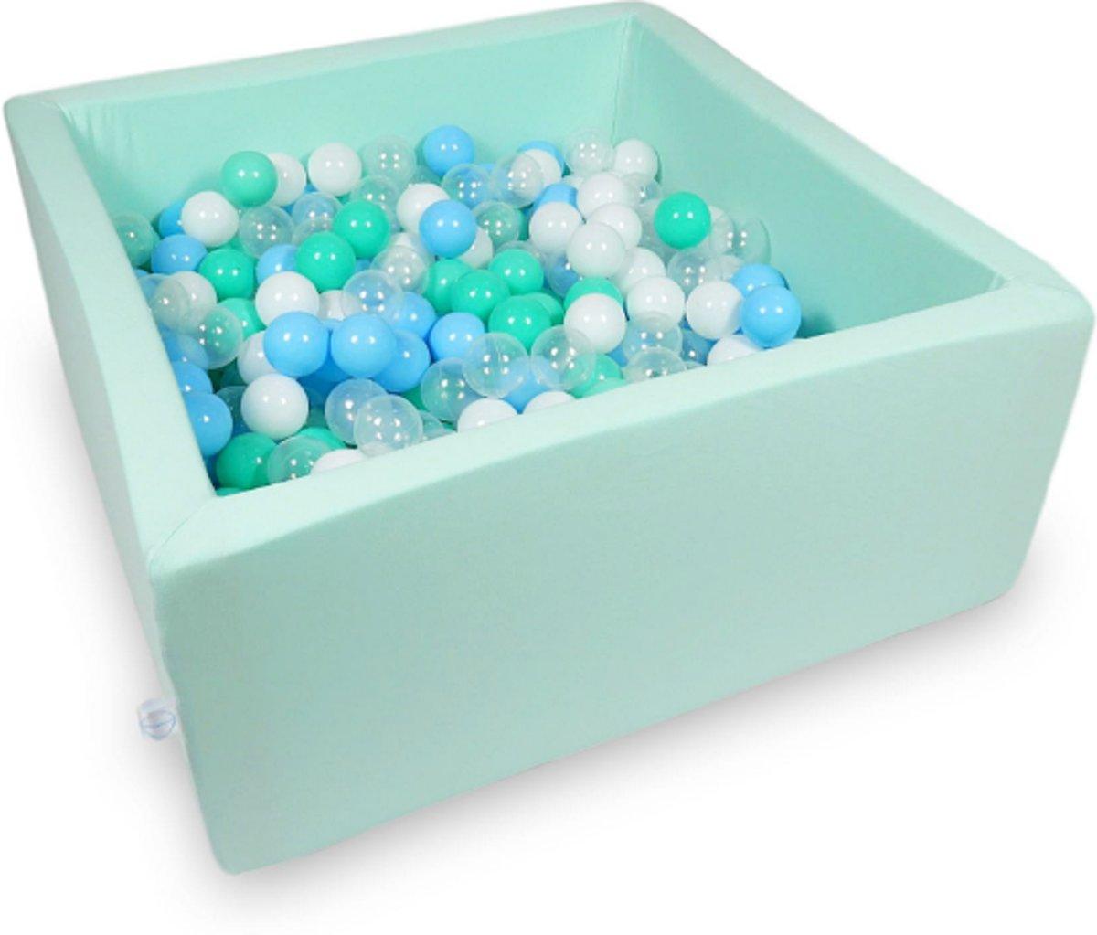 Ballenbak - 400 ballen - 90 x 90 x 40 cm - ballenbad - vierkant mint groen