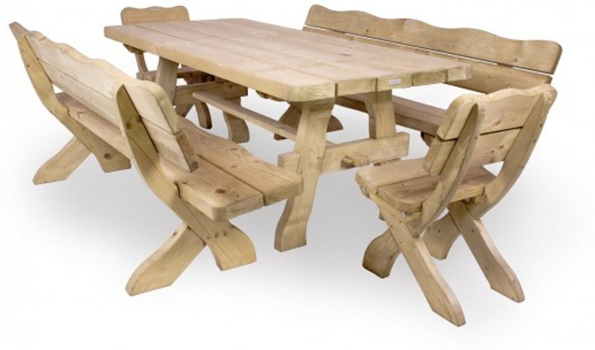 Houten tuinset landelijke stijl 200 cm (2 extra stoelen)
