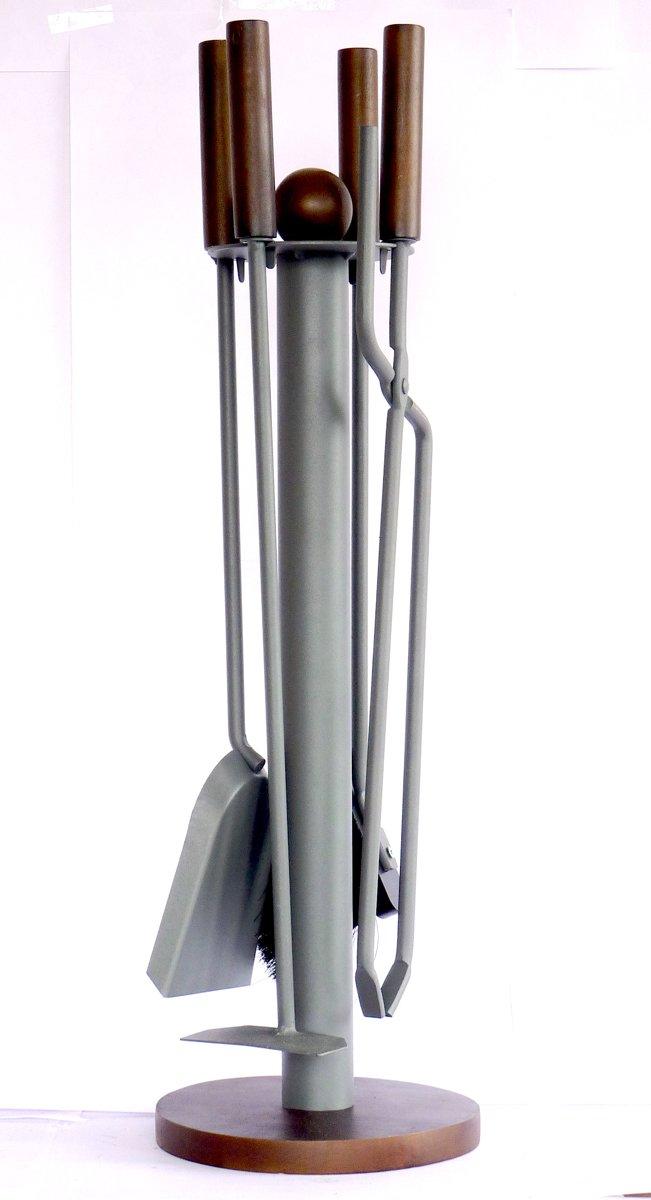 LB 039 Haardset 4-delig staal grijs met donker bruine handgrepen H64-Ø20 cm- haardset - 3-delig - staal - hout - grijs - kopen