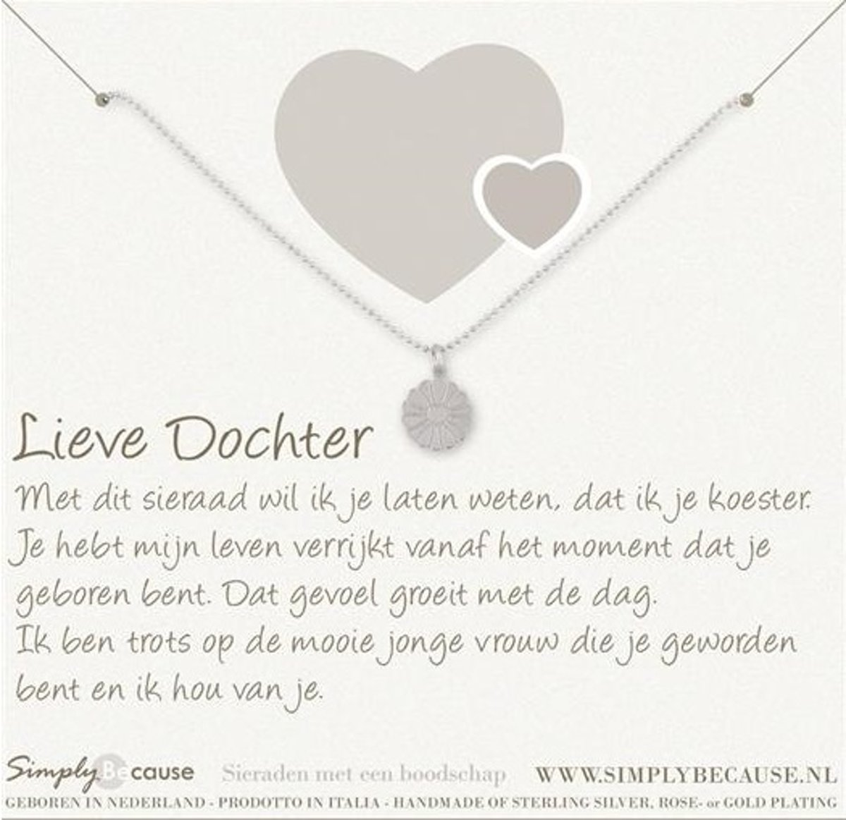 Genoeg bol.com | Simply Because Lieve Dochter! Ketting (zilver, bedel @PO13