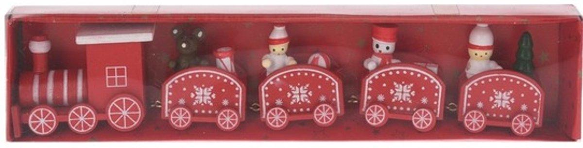 Kersttrein rood/wit van hout 24 cm kopen