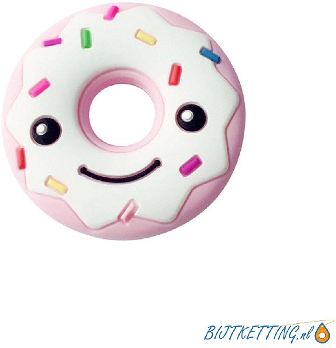 Bijtketting | Happy Face Donut Spikkels | Roze kopen
