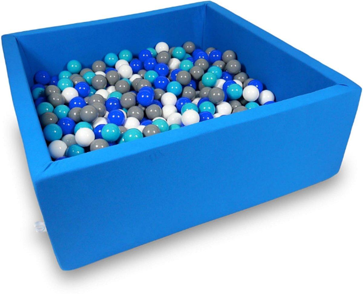 Ballenbak - 600 ballen - 110 x 110 cm - ballenbad - vierkant blauw