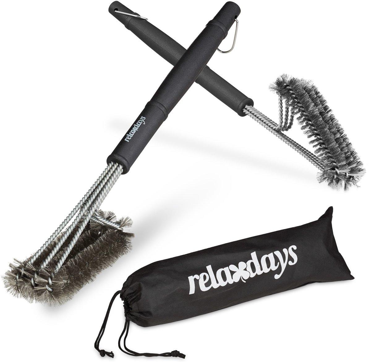 relaxdays 2x bbq borstel edelstaal - draadborstel barbecue schoonmaakborstel staalborstel kopen