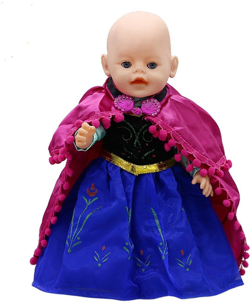 Prinses Anna jurkje met cape voor Baby Born en andere poppen met lengte 40-45 cm. Poppenkleertjes voor meisjes pop