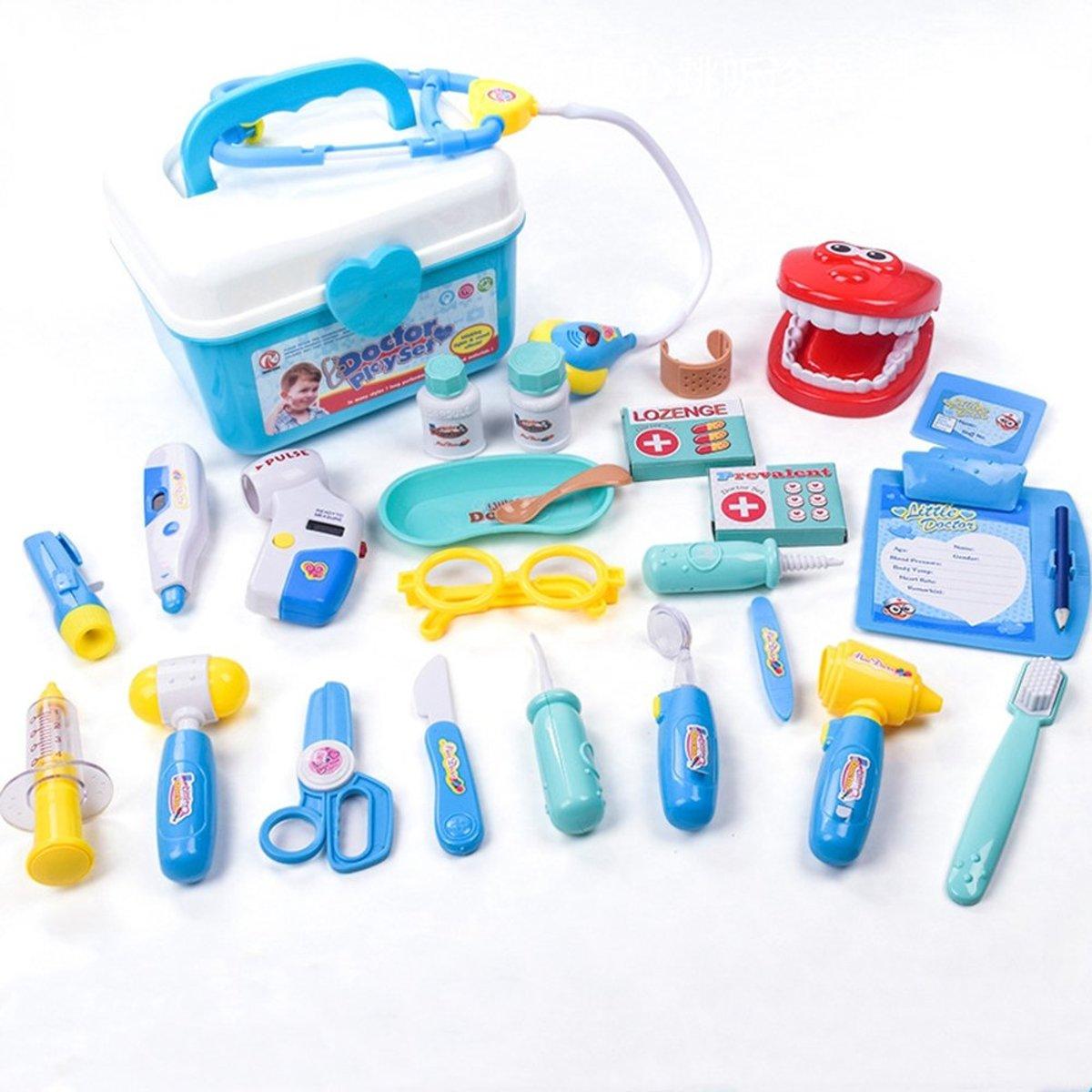 Een dokter set voor kinderen met 25 afzonderlijke stukken en een stevige plastic doos- blauw