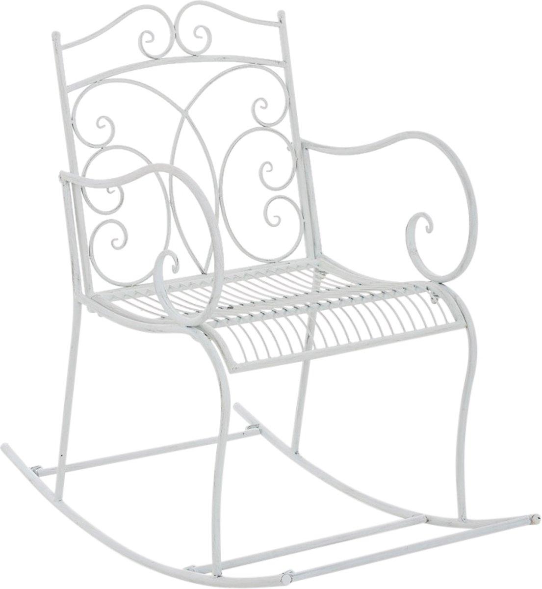 Clp Schommelstoel EDITH, tuinstoel, terrasstoel, balkonstoel, vintage, country live stijl, retro, nostalgisch, landhuisstijl, relaxstoel - antiek-wit