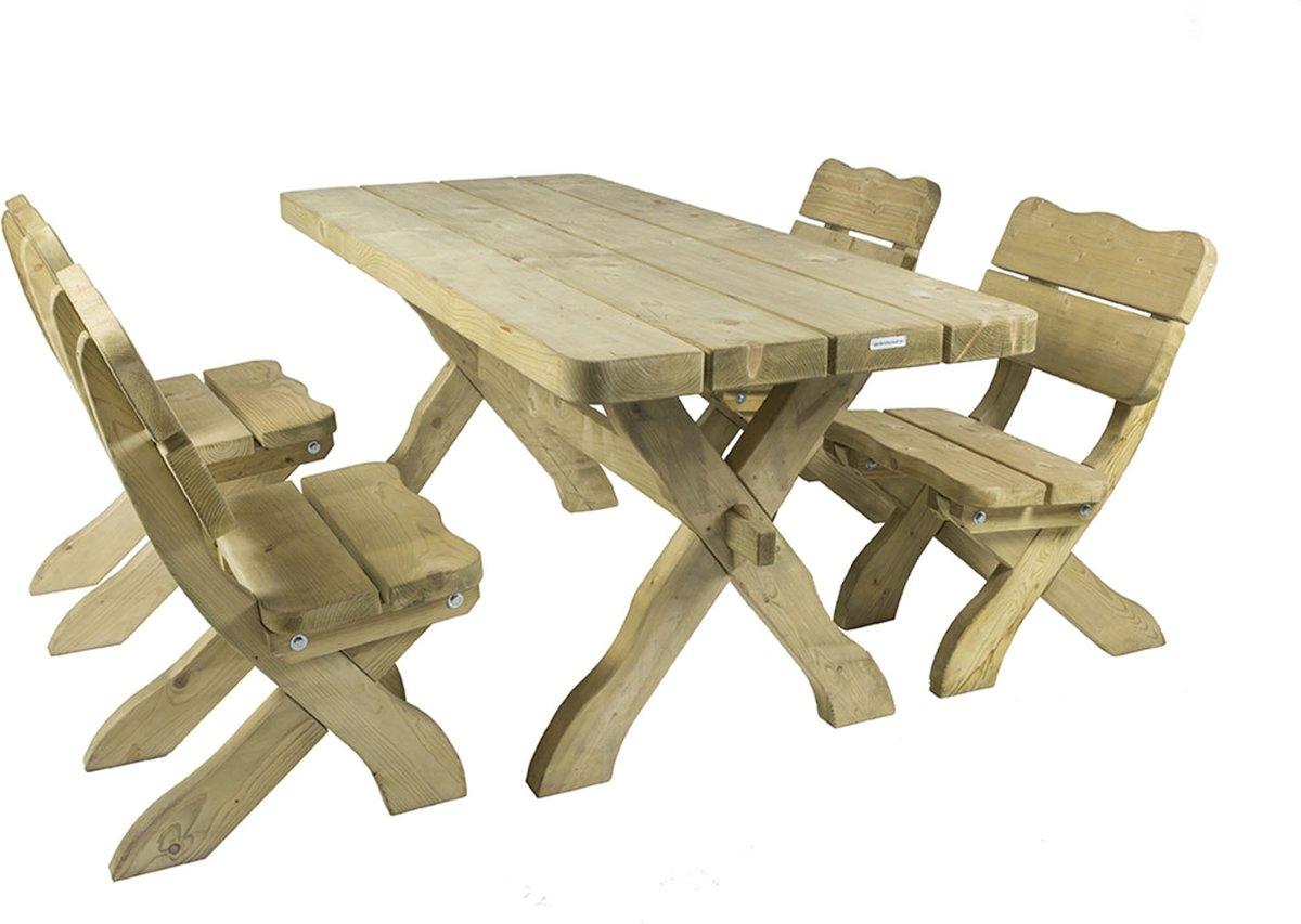 MaximaVida houten tuinset Provence 170 cm met 1 tafel en 4 stoelen