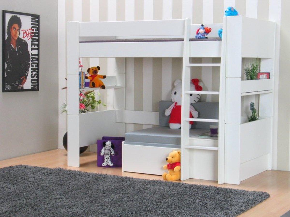 Eenpersoons Bank Bed.Bol Com Oliver Kids Hoogslaper Met Bank 90x200 Cm Wit