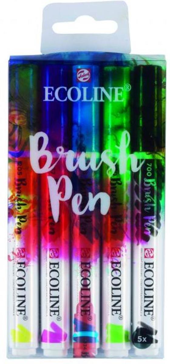 Talens Ecoline Brush Pennen Set van 5 + 1 Blender verpakt in een Zipperbag + Basis Boekje Hand & Brushlettering (Studio Suikerzoet) kopen