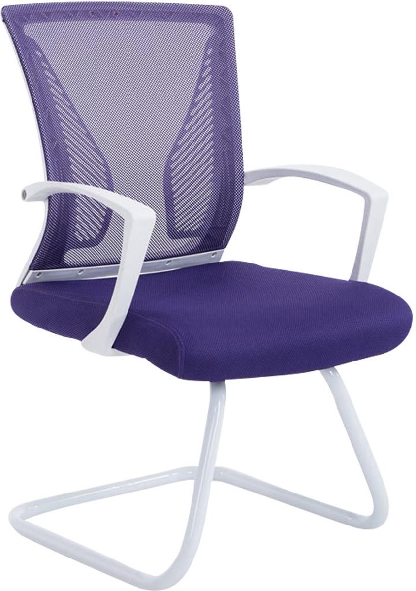 Clp Moderne bezoekersstoel BONNIE vergaderstoel, metalen cantilever met armleuning, netbekleding, belastbaar tot 130 kg - onderstel wit, bekleding lila kopen