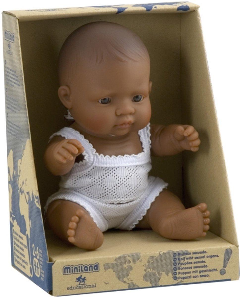 Miniland Babypop Latijns-Amerikaans Meisje 21cm donkere pop badpop