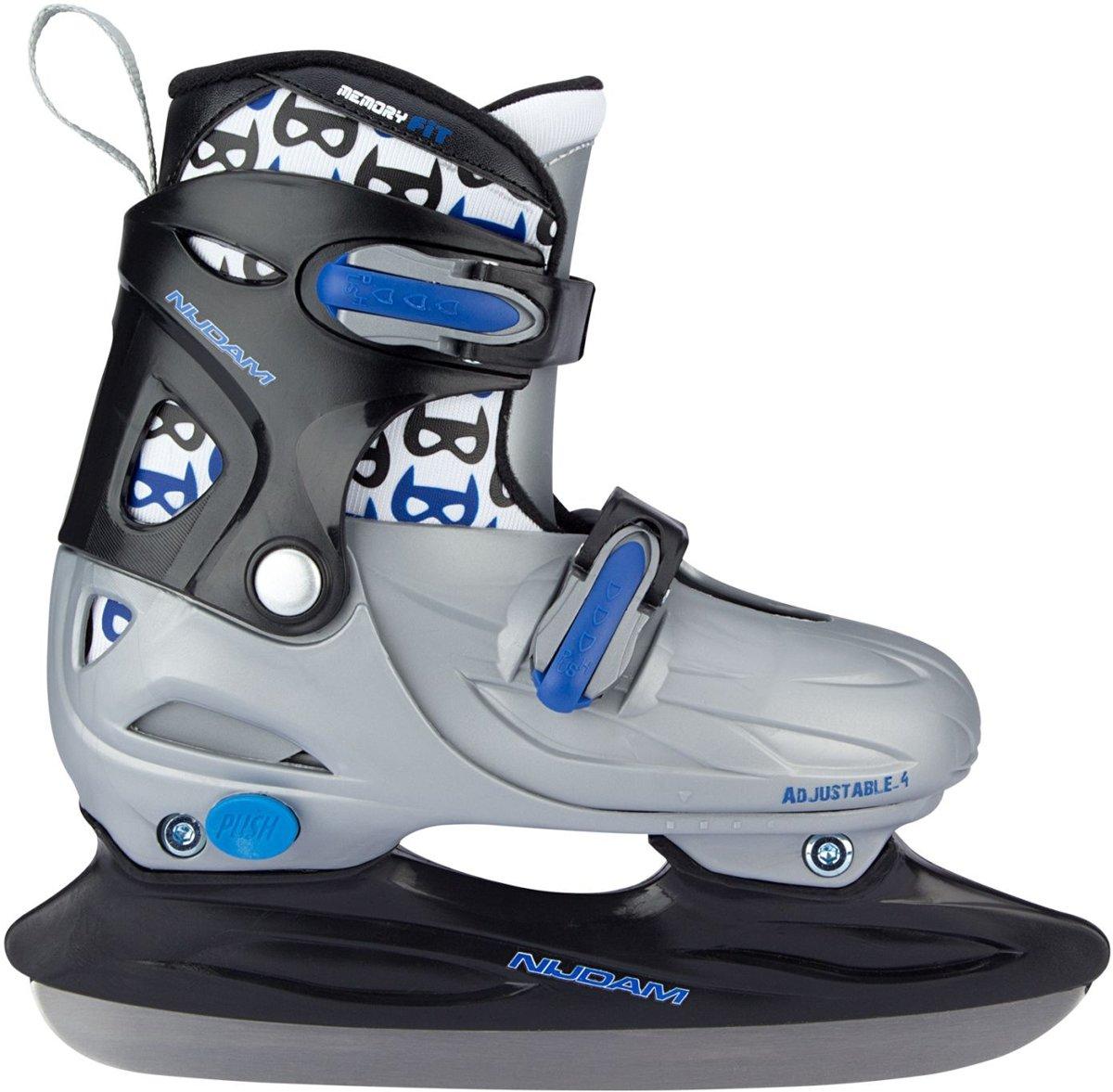 Nijdam Junior IJshockeyschaats Junior Verstelbaar - Hardboot - Zwart/Blauw - 34-37