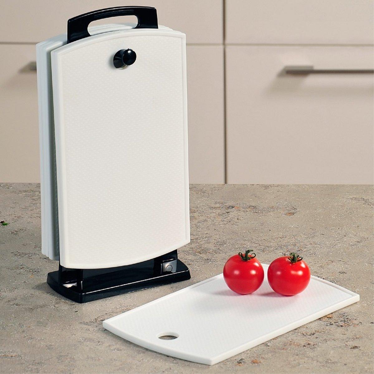 6-Delige Snijplanken / Ontbijtplanken Set op Houder | Bestaande uit: 6 STUKS Snijplanken / Ontbijtplanken en Handige Houder |  Snijplank | Keukenplank | Materiaal: Kunststof | Afm. 30 x 14,5 x 7,5 Cm. Kleur: WIT kopen